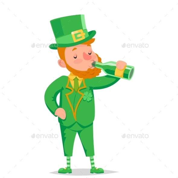Leprechaun Drinking Beer Saint Patrick Day - Miscellaneous Characters