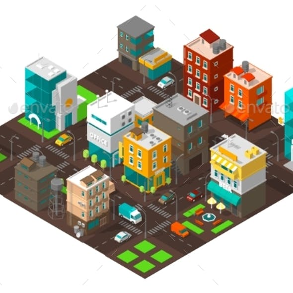City Town District Street Isometric Intersection