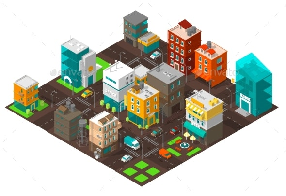 City Town District Street Isometric Intersection - Buildings Objects