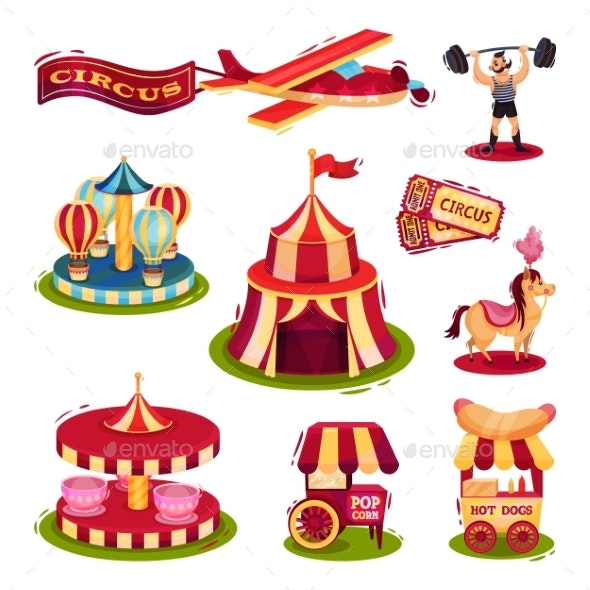 Flat Vector Set of Circus Icons - Industries Business