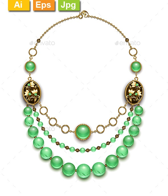 Beads from Chrysoprase - Man-made Objects Objects