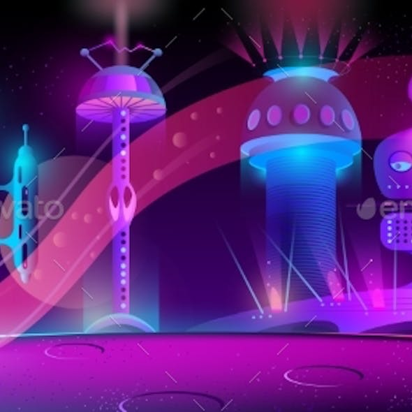 Vector Futuristic City on Other Planet