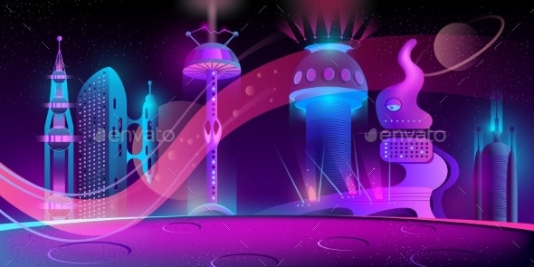 Vector Futuristic City on Other Planet - Buildings Objects