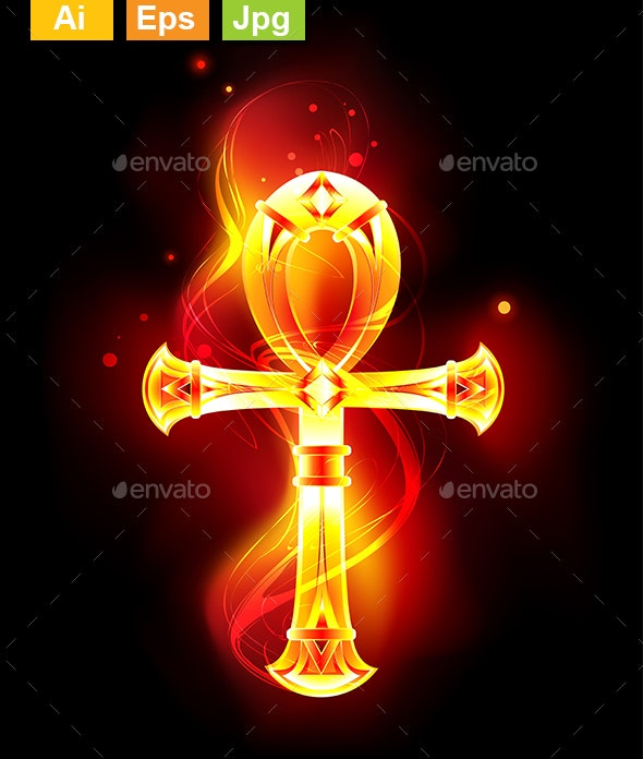 Burning Ankh - Decorative Symbols Decorative