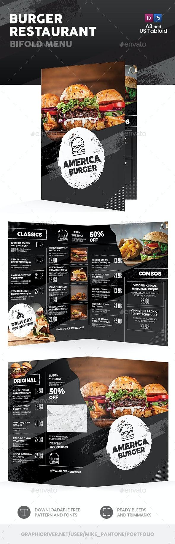 Burger Restaurant Bifold / Halffold Menu - Food Menus Print Templates