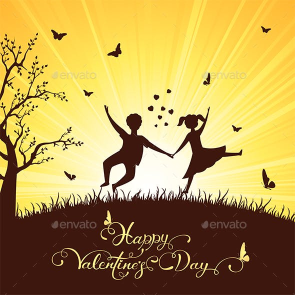 Happy Boy and Girl in Valentines Day