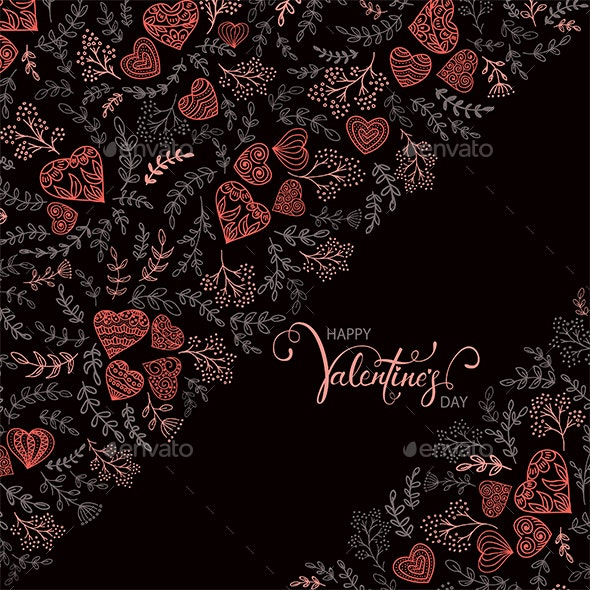 Floral Elements with Red Hearts and Lettering - Valentines Seasons/Holidays