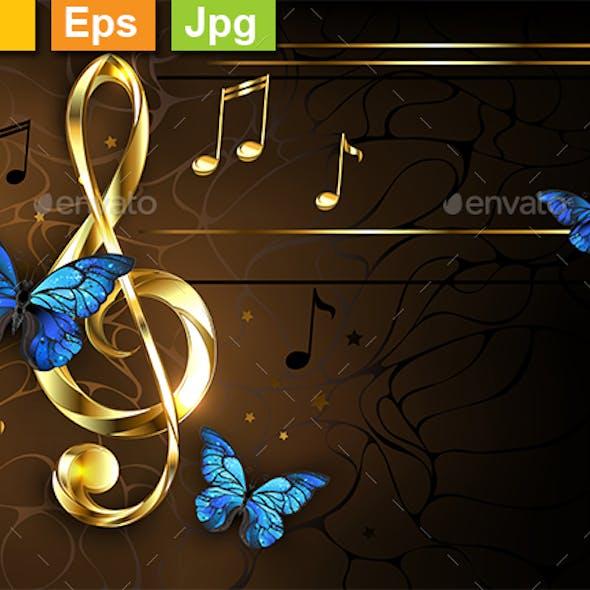 Musical Key with Blue Butterflies