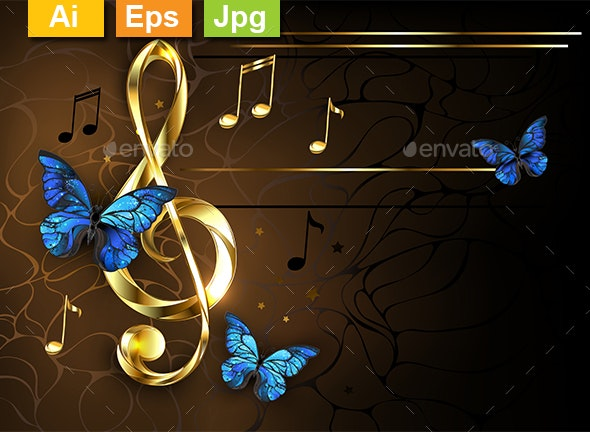 Musical Key with Blue Butterflies - Decorative Symbols Decorative