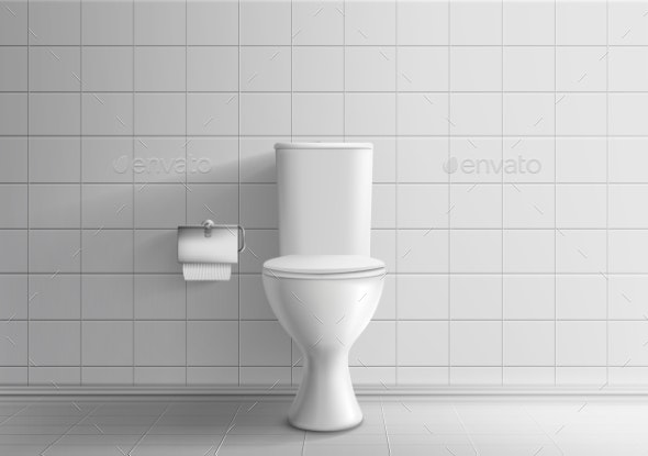 Toilet Bowl with Toilet Paper Realistic Vector - Backgrounds Decorative