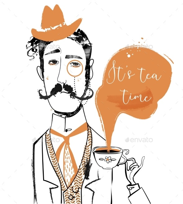 Cartoon Gentleman with Tea Cup - Miscellaneous Vectors