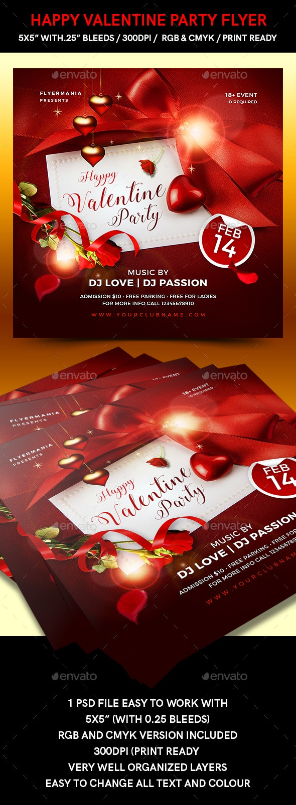 Happy Valentine Party Flyer - Flyers Print Templates