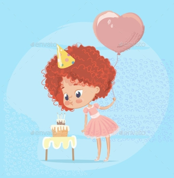 Redhead Girl Blowing Out Birthday Cake Candle - Miscellaneous Vectors
