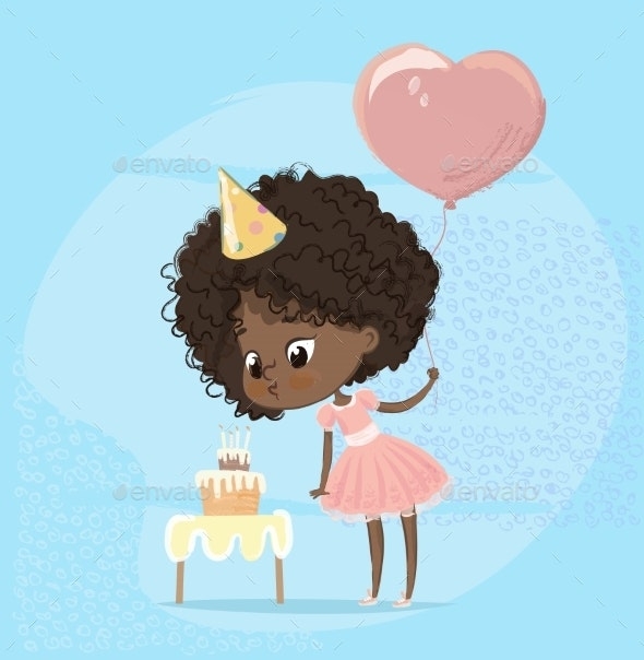 Girl Blowing Birthday Cake Candle - Miscellaneous Vectors