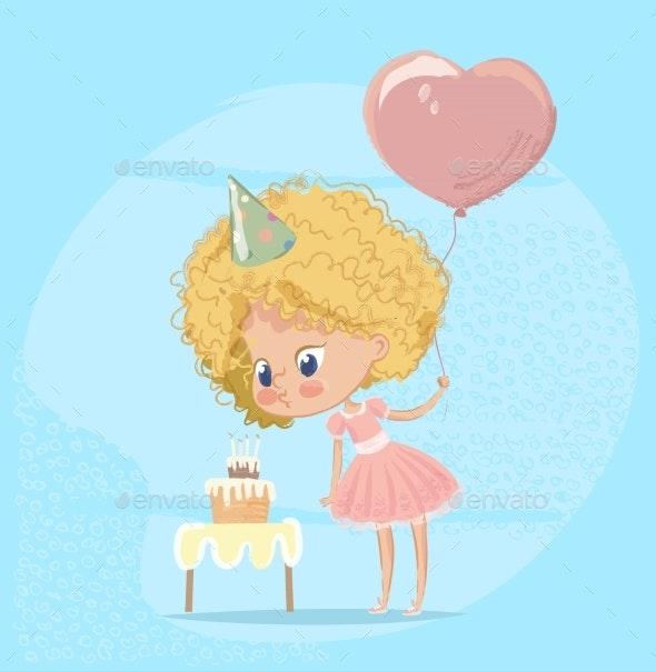 Girl Blowing Birthday Cake Candle - Birthdays Seasons/Holidays