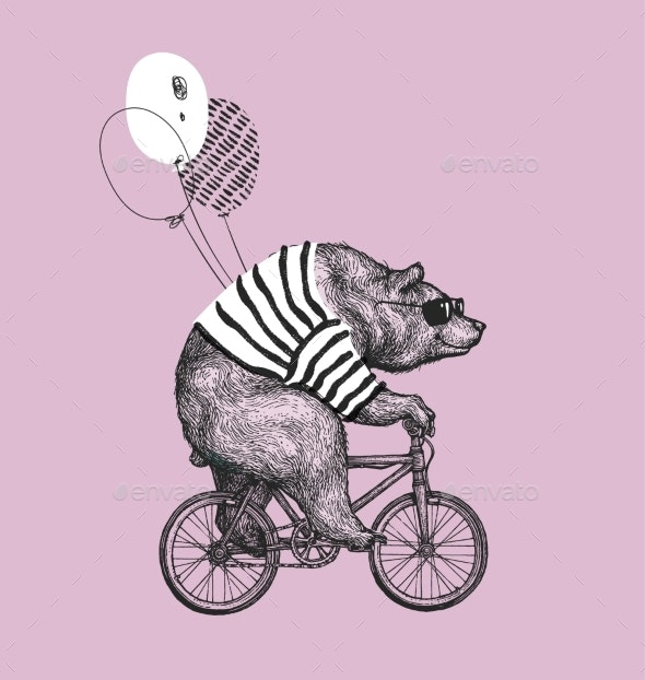 Bear Wearing Glasses Riding Bicycle - Animals Characters
