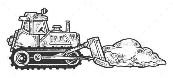 Bulldozer Shove Snow Engraving Vector - Miscellaneous Vectors