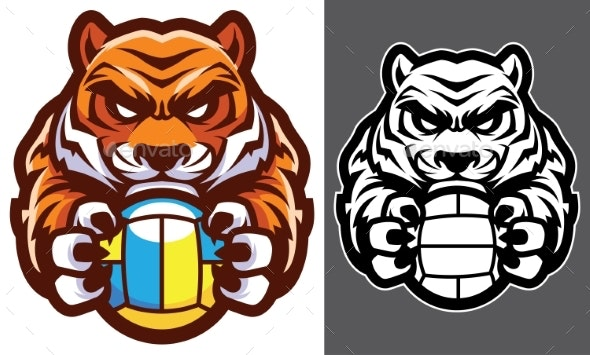 Tiger Volleyball Mascot - Animals Characters