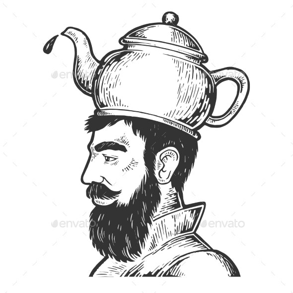 Man with Kettle Teapot Hat Engraving Style Vector - People Characters