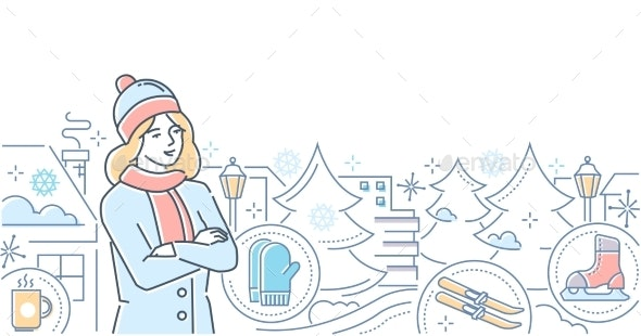 Hello Winter - Modern Line Design Style - Seasons Nature