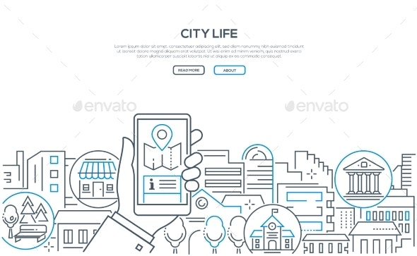 City Life - Modern Line Design Style Web Banner - Concepts Business