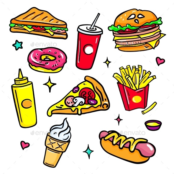 Fast Food - Colorful Vector Isolated Stickers Set - Food Objects