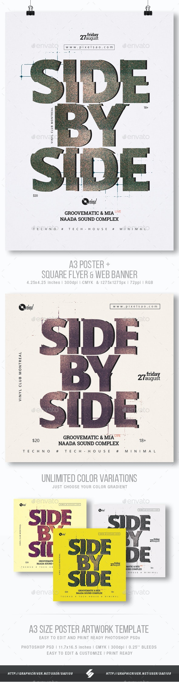 Side By Side - Minimal Party Flyer / Poster Template A3 - Clubs & Parties Events