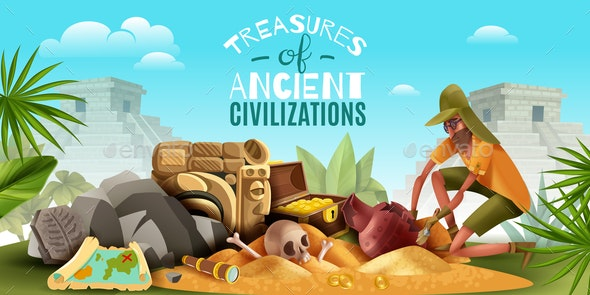 Archeology Ancient Treasures Background - Miscellaneous Vectors