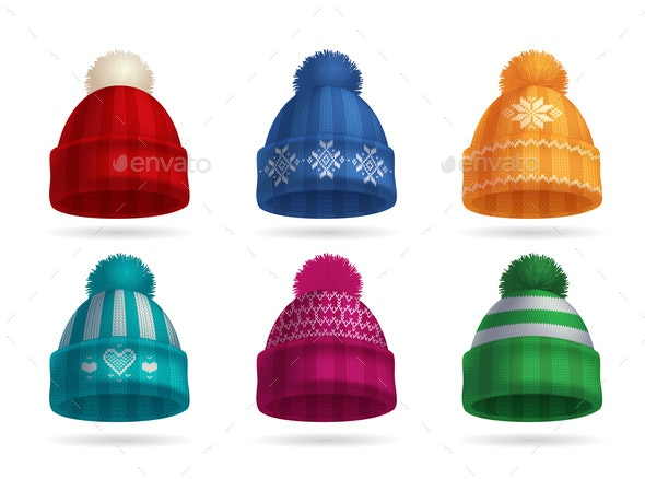 Winter Knitted Hat Set - Miscellaneous Vectors
