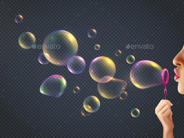 Girl Blowing Soap Bubbles - Miscellaneous Vectors