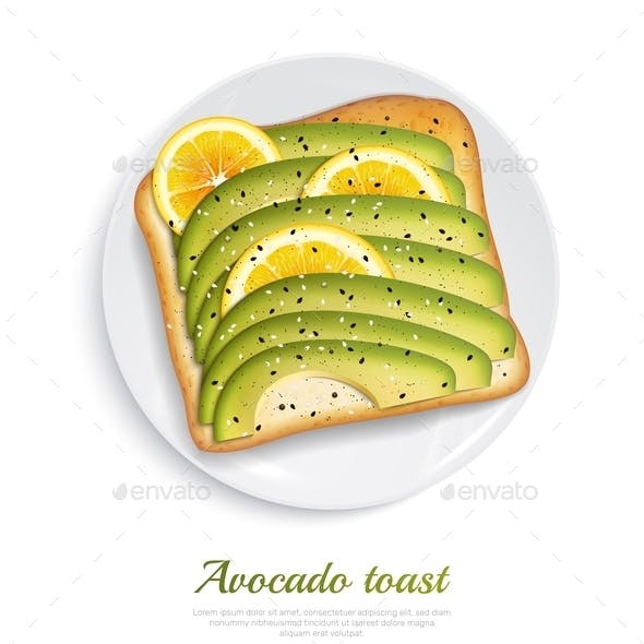 Avocado Toast Realistic Design Concept