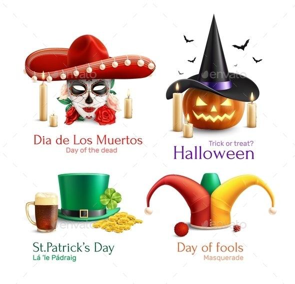 Masquerade Hats 2x2 Realistic Design Concept - Miscellaneous Seasons/Holidays