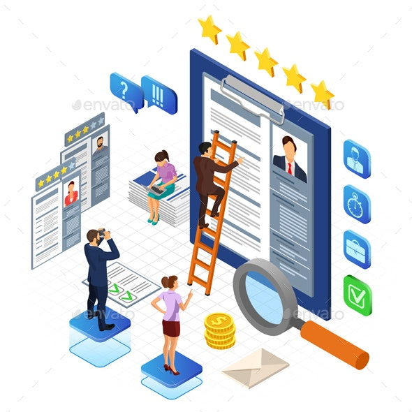 Online Isometric Employment and Hiring Concept - Concepts Business