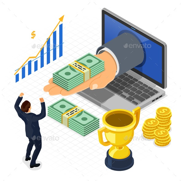 Internet Online Earnings Isometric Concept - Concepts Business