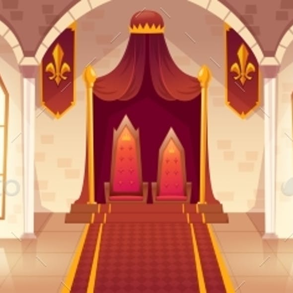 Vector Throne Room in Medieval Palace Castle Hall