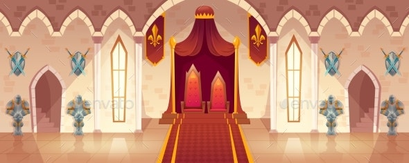 Vector Throne Room in Medieval Palace Castle Hall - Backgrounds Decorative