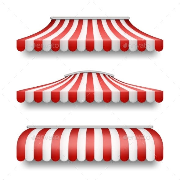 Vector Realistic Set of Striped Awnings for Shops - Man-made Objects Objects