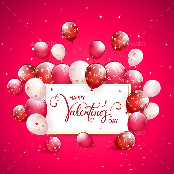 Text Happy Valentines Day with Balloons and Confetti on Pink Holiday Background - Valentines Seasons/Holidays