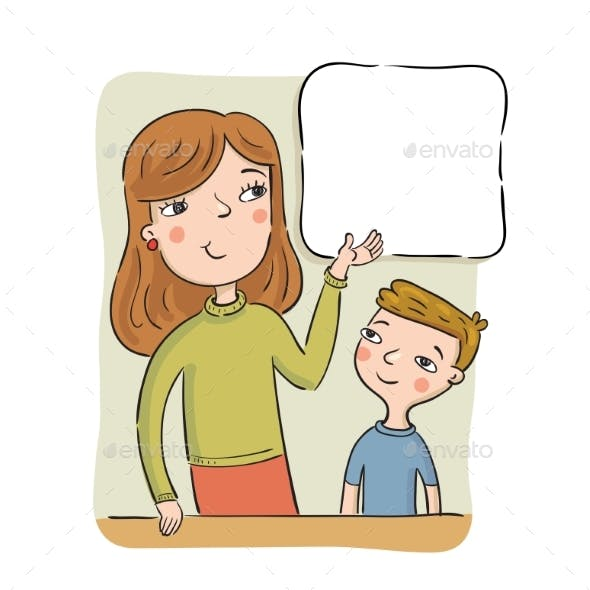 Mother or the Teacher Shows Boy Information