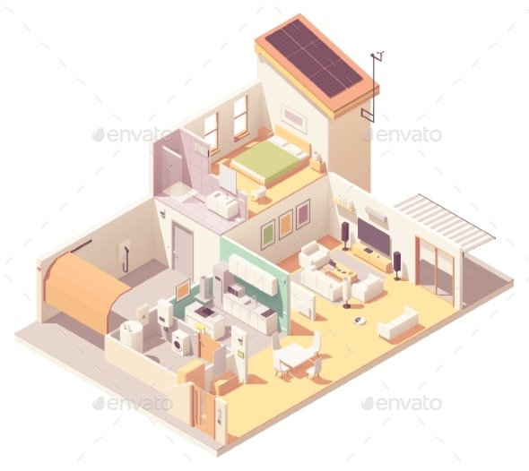 Vector Isometric House Cross-Section - Buildings Objects