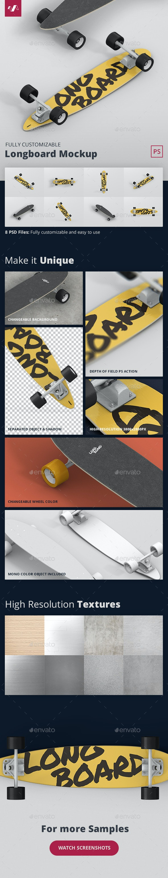 Skateboard Longboard Mockup - Miscellaneous Product Mock-Ups