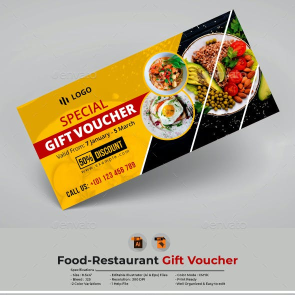 Food-Restaurant Gift Voucher Template