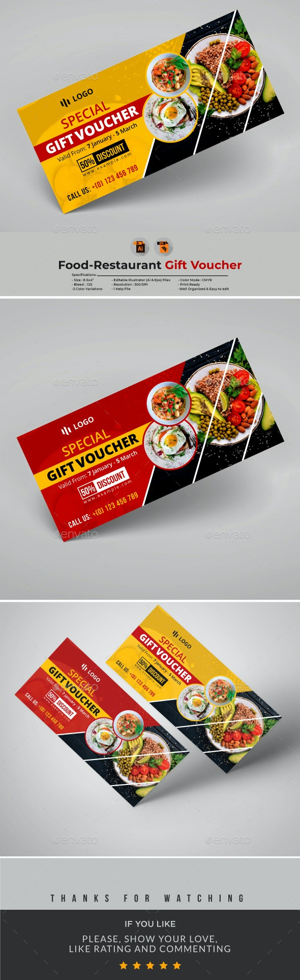 Food-Restaurant Gift Voucher Template - Loyalty Cards Cards & Invites
