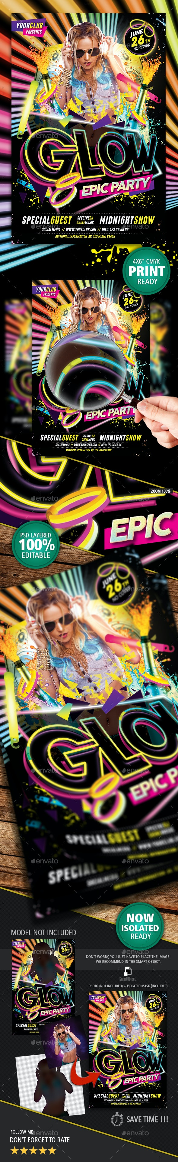 Glow Epic Party Flyer - Clubs & Parties Events