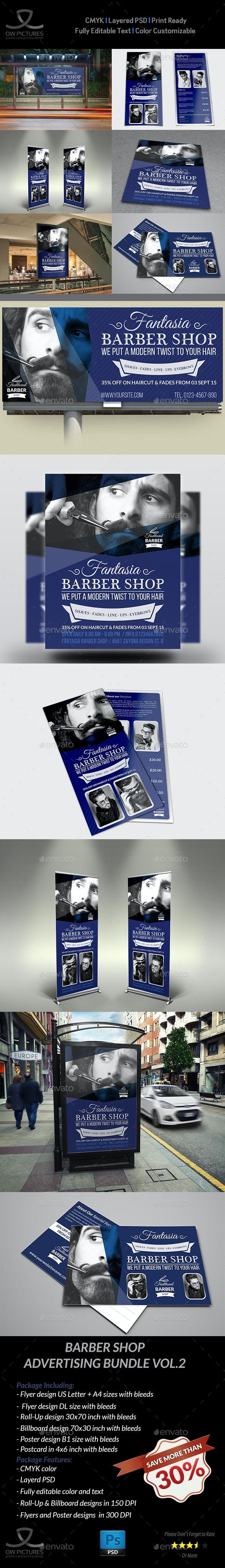 Barber Shop Advertising Bundle Vol.2 - Signage Print Templates