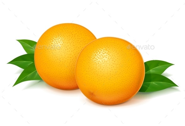 Orange with Green Leaves - Food Objects