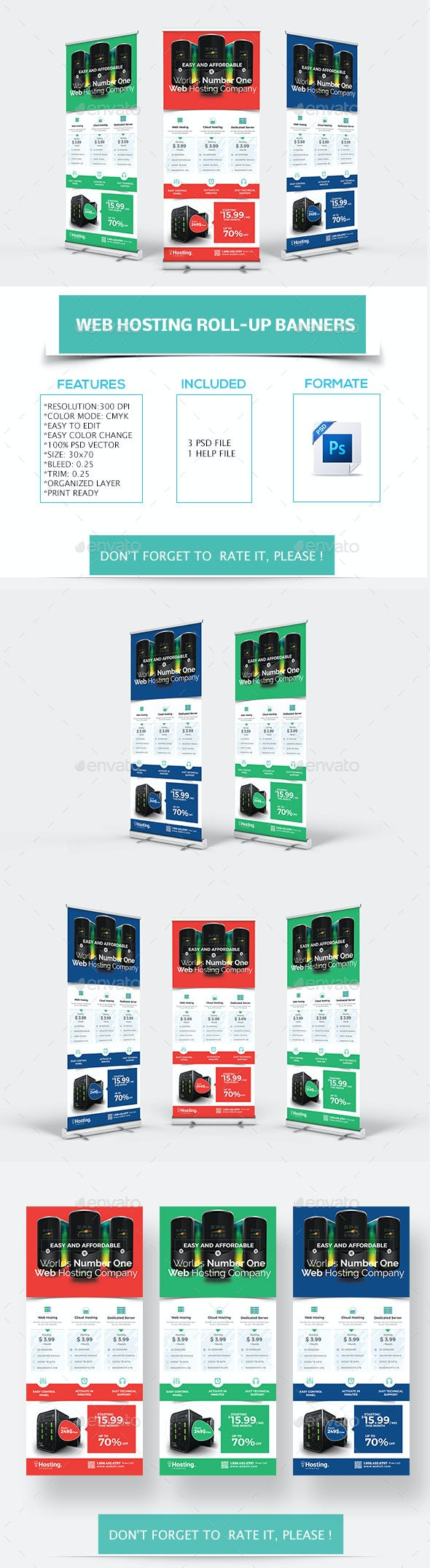 Web Hosting Roll-up Banners - Signage Print Templates