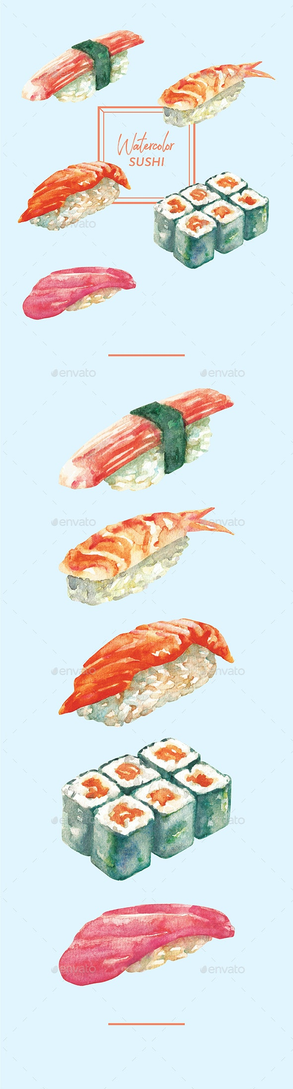 Watercolor Sushi - Objects Illustrations