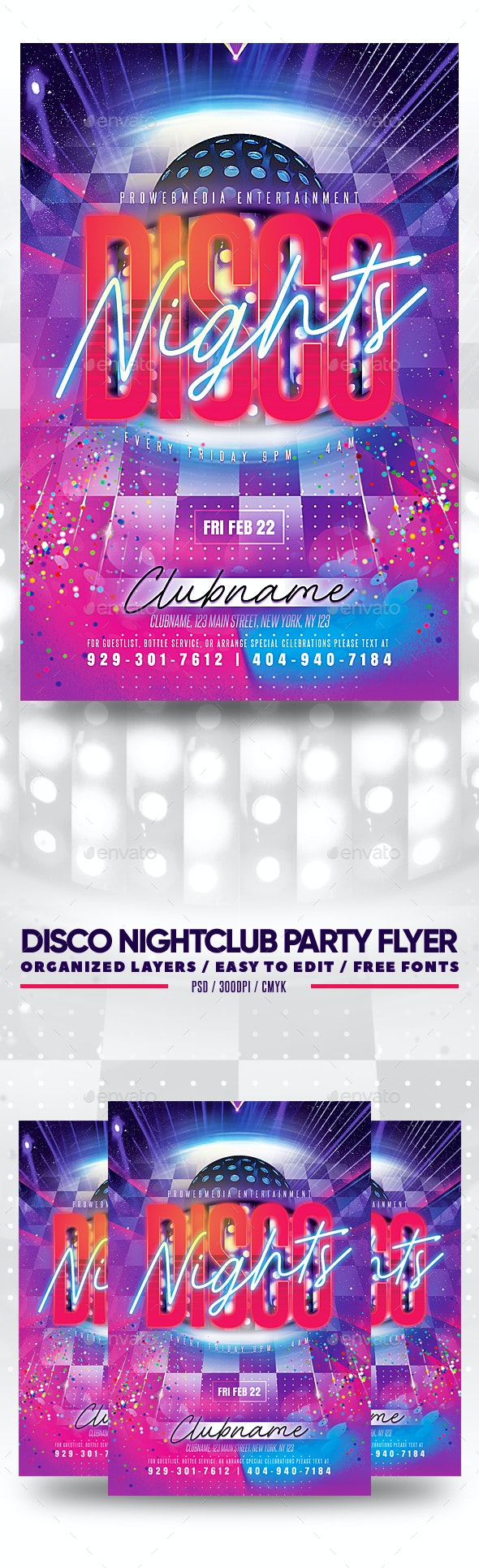 Disco Nightclub Party Flyer - Clubs & Parties Events