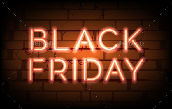 Black Friday Neon Sale Tag - Backgrounds Decorative